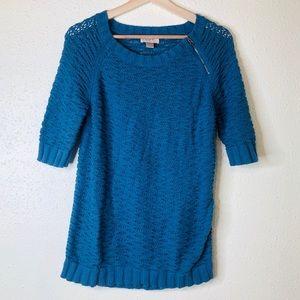 Loft Blue Knit Short Sleeve Sweater Top